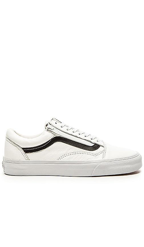 vans old skool leather zip white
