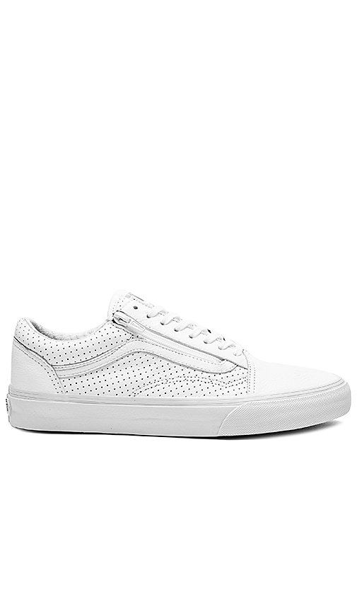 88491b4e9db8 Vans Old Skool Zip Perf Leather in True White | REVOLVE
