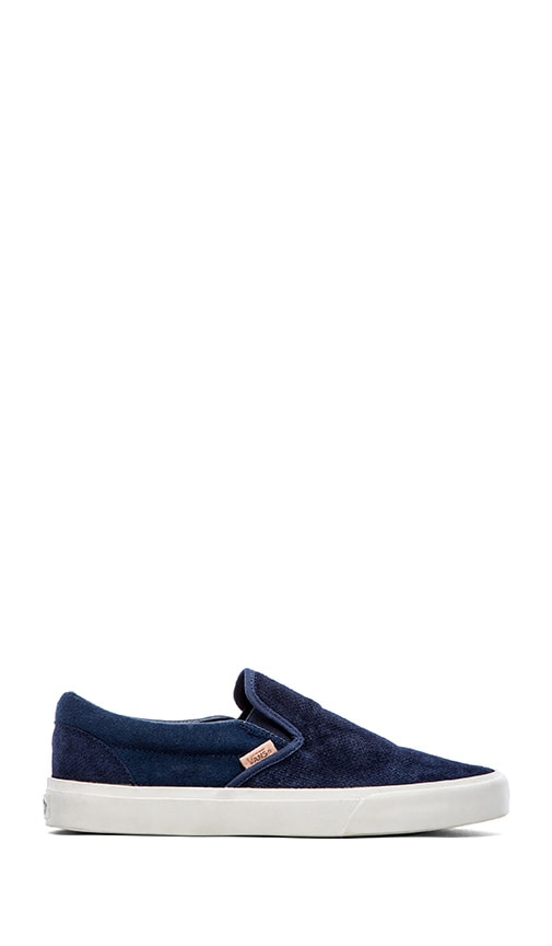 f037e4536fe Vans California Classic Slip On in Knit Suede Dress Blues
