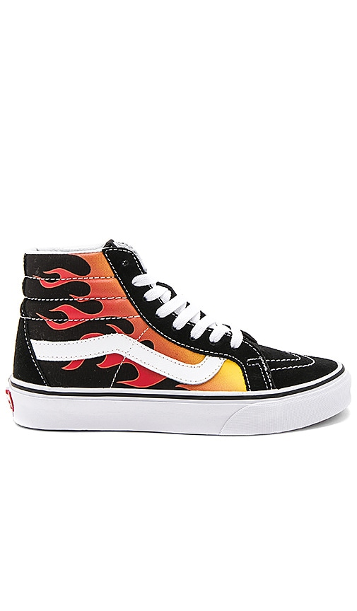 Vans Sk8 Hi Reissue Flames in Black & Black & True White | REVOLVE