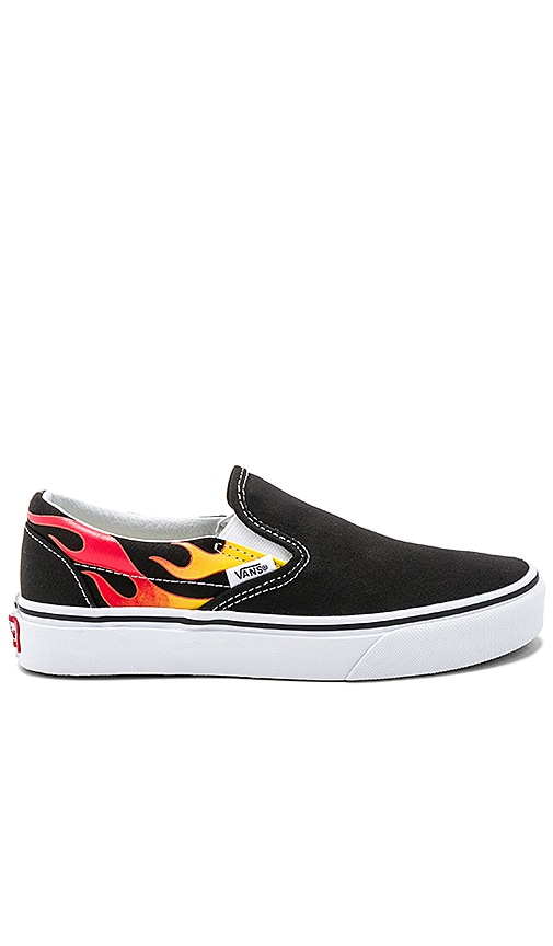 CLASSIC SLIP ON FLAMES IN BLACK & BLACK & TRUE WHITE