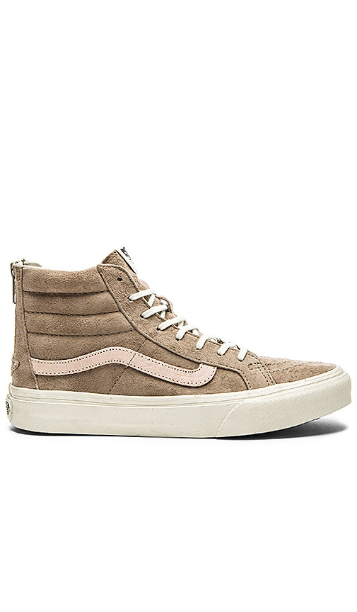 Vans SK8-Hi Slim Zip Sneaker in Hemp   Blanc de Blanc  4a9df95ac0