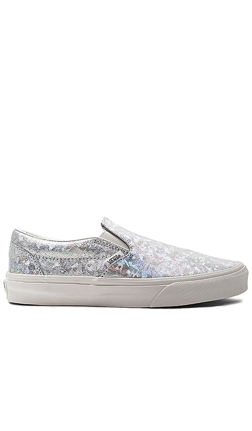 Vans Classic Slip On Sneaker in Metallic Silver
