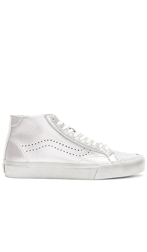 Vans Metallic Sidewall Court Mid Sneaker in Metallic Silver