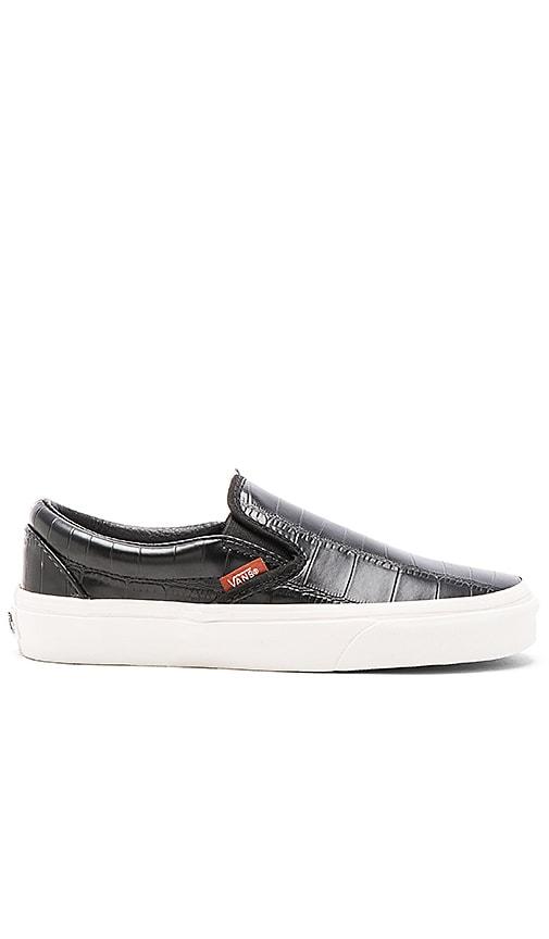 ae7ffbfcf9481d Vans Classic Croc Leather Slip On Sneaker in Black