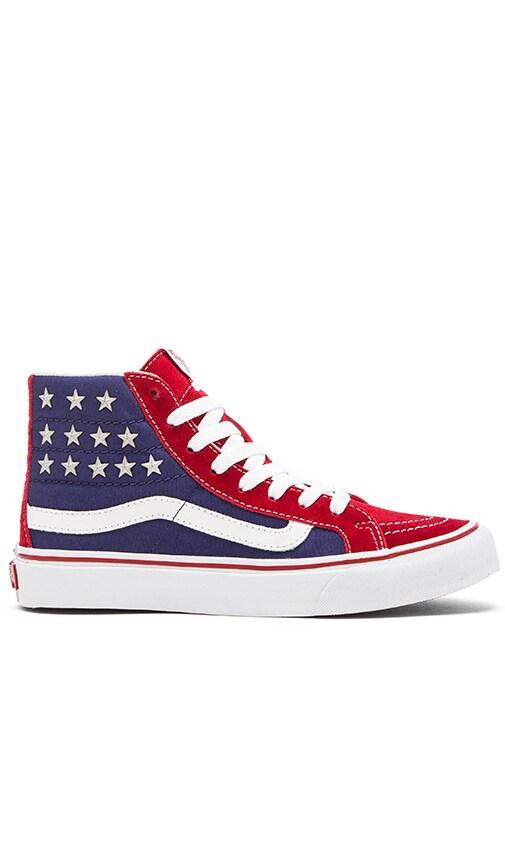 60fc722397 Vans Sk8-Hi Slim Studded Stars Sneaker in Red   Blue