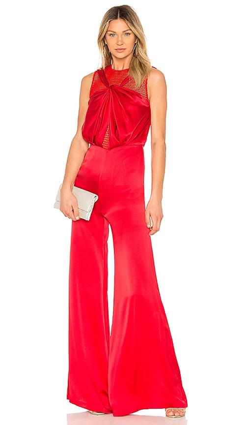 VATANIKA Draped Jumpsuit in Red