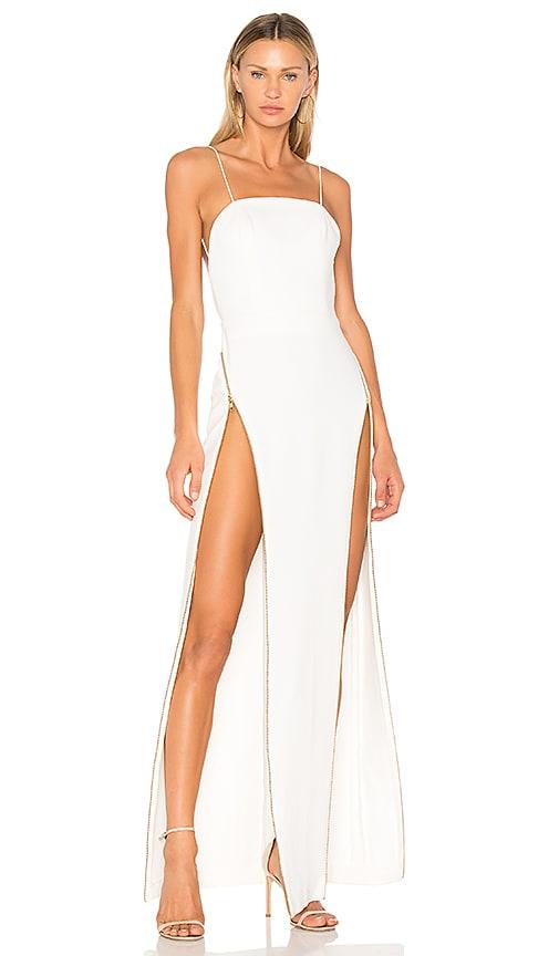 White Backless High Slit Dress