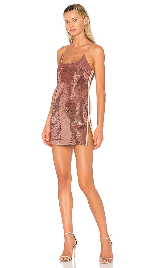 VATANIKA High Zip Slit Sequin Slip Dress in Rose