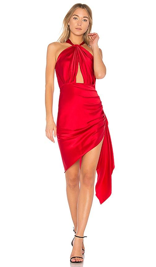 VATANIKA Crossfront Midi Dress in Red