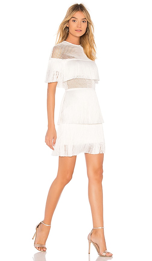 VATANIKA Crepe Fringe Mini Dress in White