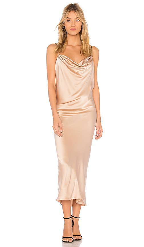 VATANIKA Satin Slip Dress in Metallic Gold