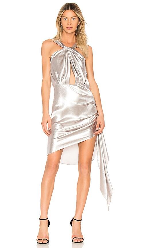 VATANIKA Hammered Backless Mini Dress in Silver
