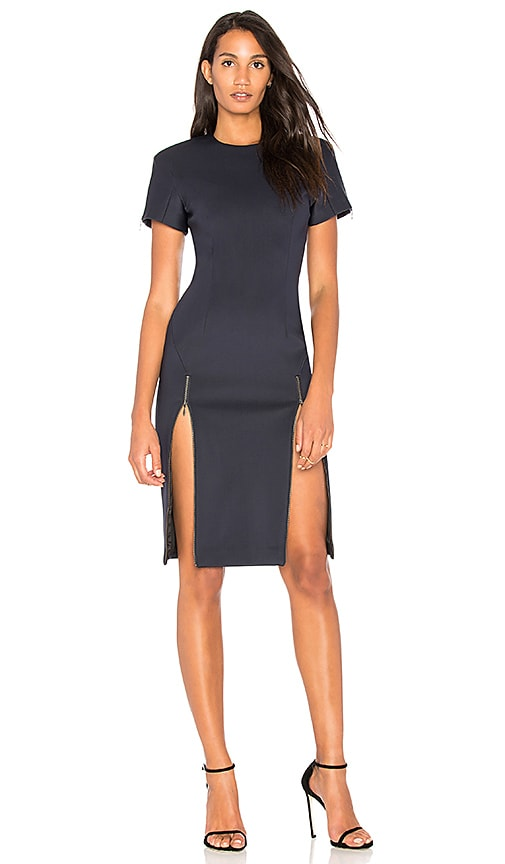 VATANIKA Zip Slit Dress in Navy