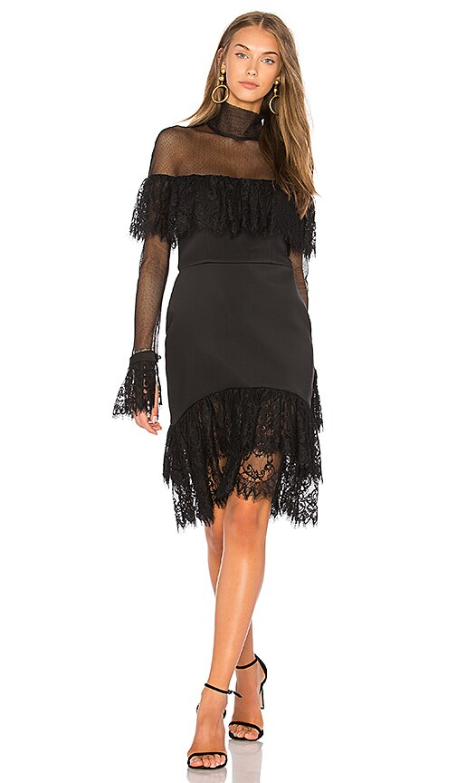 VATANIKA Cut Out Lace Ruffle Dress in Black