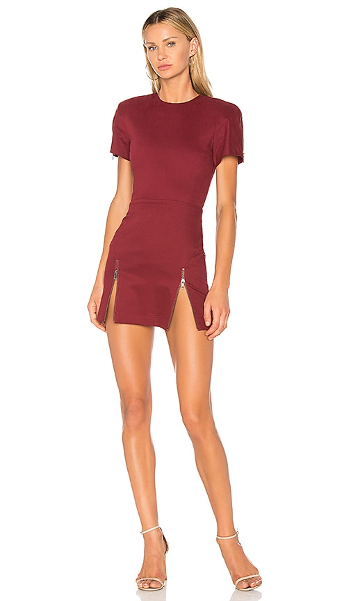 VATANIKA High Zip Slit Mini Dress in Burgundy | REVOLVE