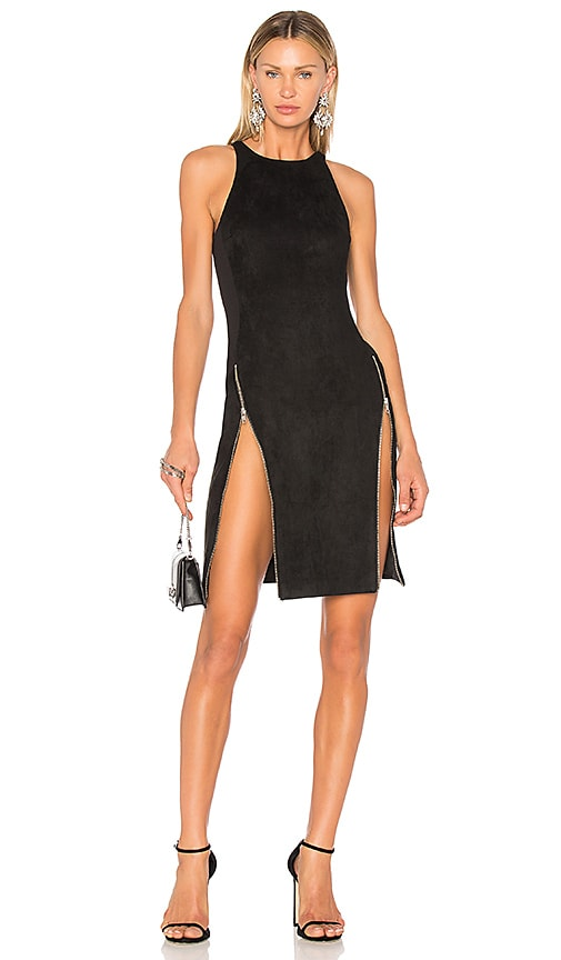 VATANIKA High Zip Slit Dress in Black