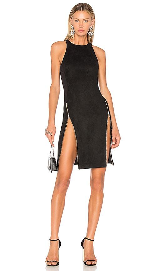 VATANIKA High Zip Slit Dress in Black