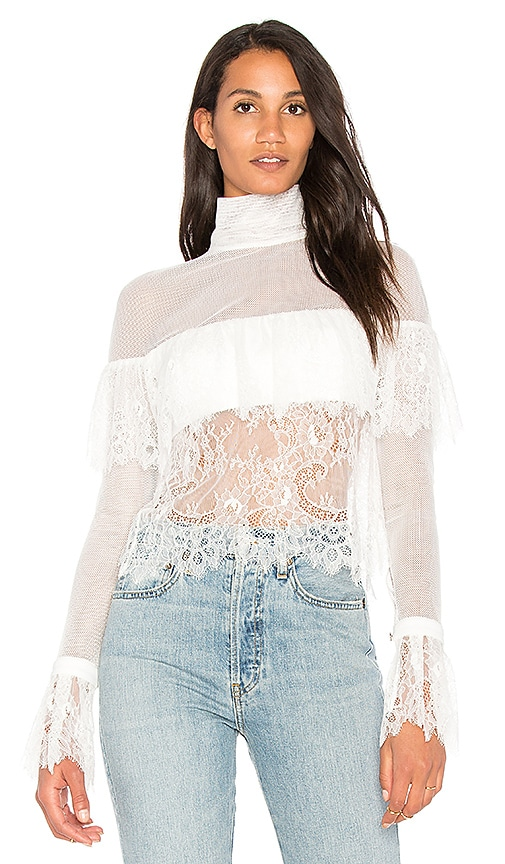 VATANIKA Off Shoulder Lace Blouse in White