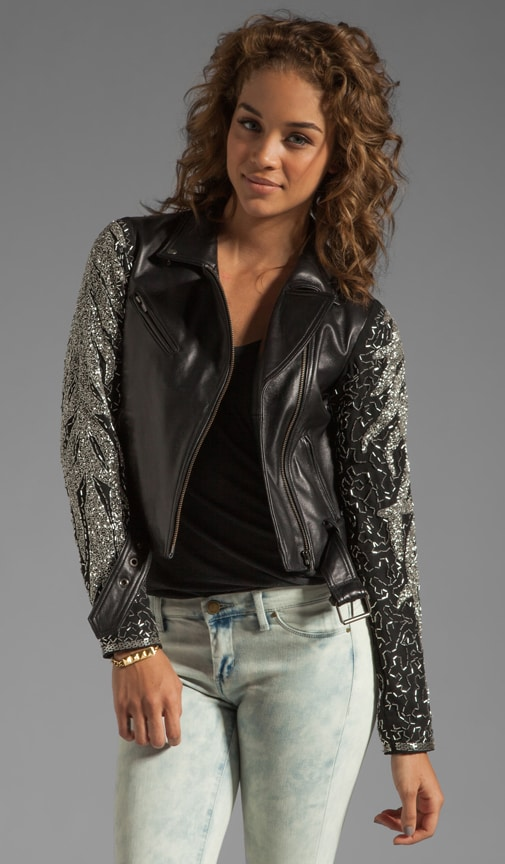 Aquarius Leather Embellished Jacket