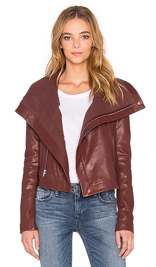 VEDA Max Classic Bubble Leather Jacket in Bordeaux