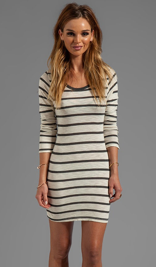 Fern Charcoal Slub Stripe Long Sleeve Dress