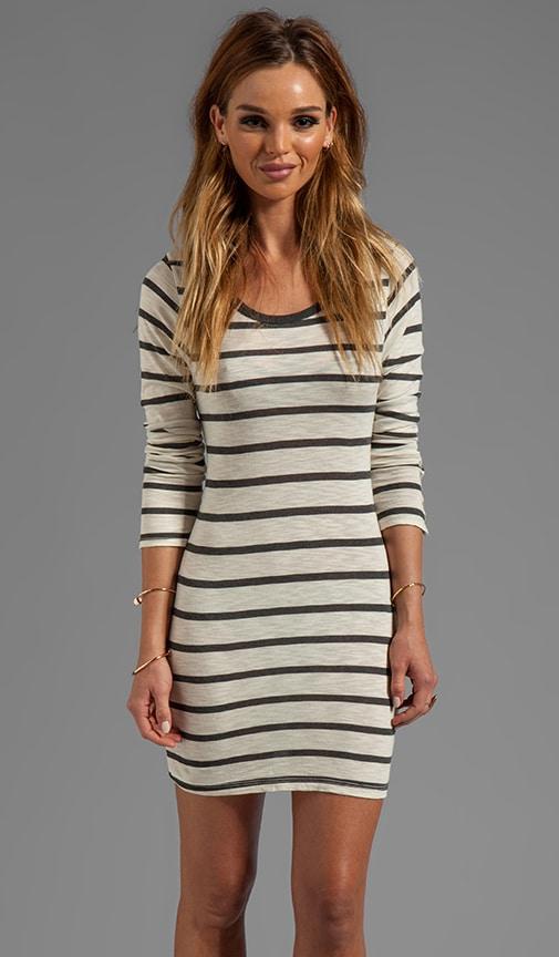 Fern Charcoal Slub Stripe Long Sleeve Dress