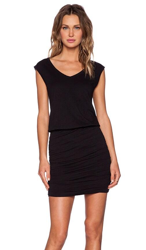Velvet by Graham & Spencer Cotton Slub Bardot Dress in Black