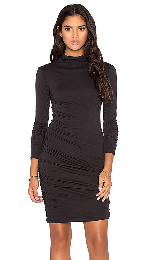 Velvet by Graham & Spencer Pietro Gauzy Whisper Turtleneck Long Sleeve Dress in Black