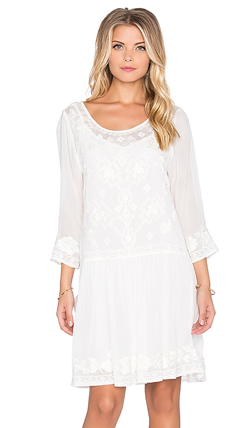 Velvet by Graham & Spencer Annmarie Chiffon Embroidered Long Sleeve Dress in Cream