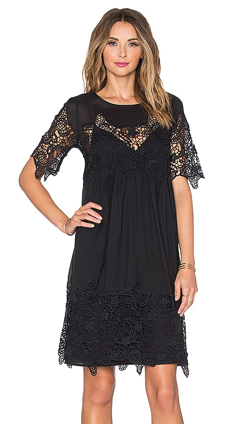 Velvet by Graham & Spencer Iulia Audrey Lace Short Sleeve Dress in Black