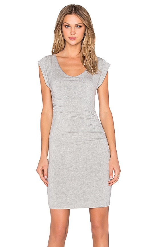 Velvet by Graham & Spencer Elmina Modal Knit Short Sleeve Scoop Neck Dress in Heather Grey