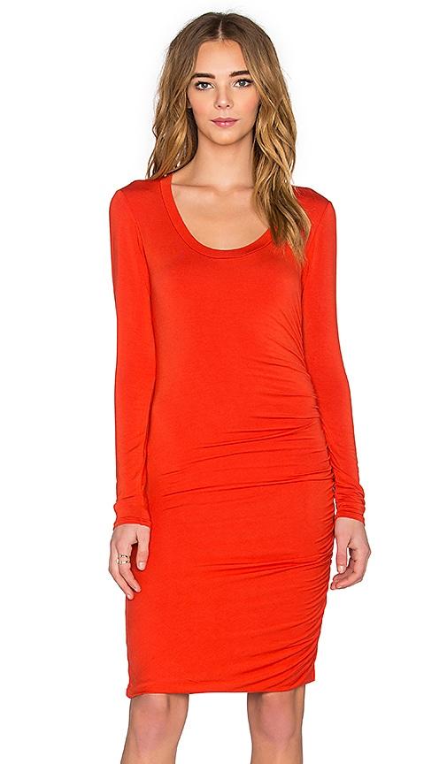 Velvet by Graham & Spencer Freeda Modal Knit Long Sleeve Scoop Neck Dress in Crimson
