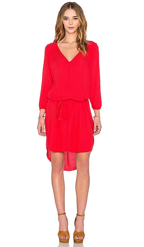 Velvet by Graham & Spencer Floressa Damask Rayon Long Sleeve Dress in Red