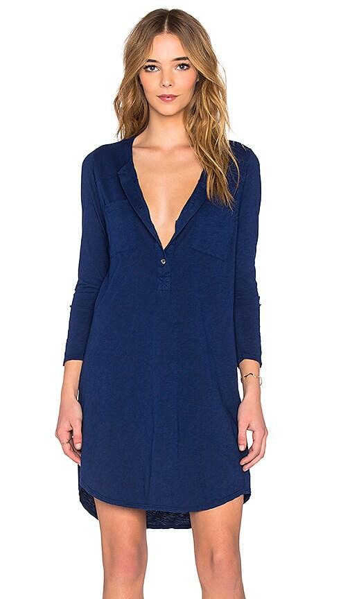 Velvet by Graham & Spencer Vavaya Cotton Slub Button Up 3/4 Sleeve Shirt Dress in Magic