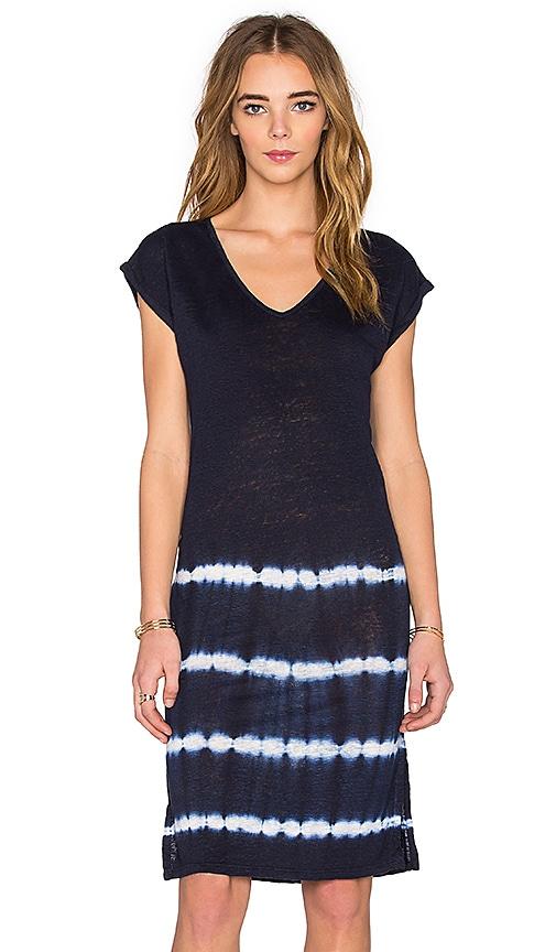 Velvet by Graham & Spencer Alinda Tie Dye Stripe Linen Jersey T Shirt Dress in Navy