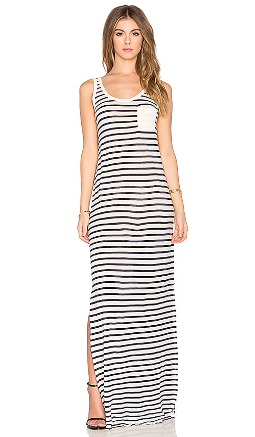 Velvet by Graham & Spencer Debbie Mixed Stripes Scoop Neck Maxi Dress in Soy