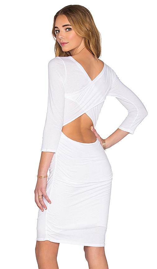 Velvet by Graham & Spencer Derba Gauzy Whisper Back Cutout Dress in White
