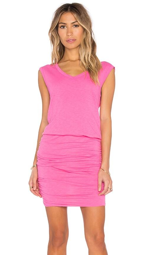 Velvet by Graham & Spencer Bardot Cotton Slub Mini Dress in Taffy