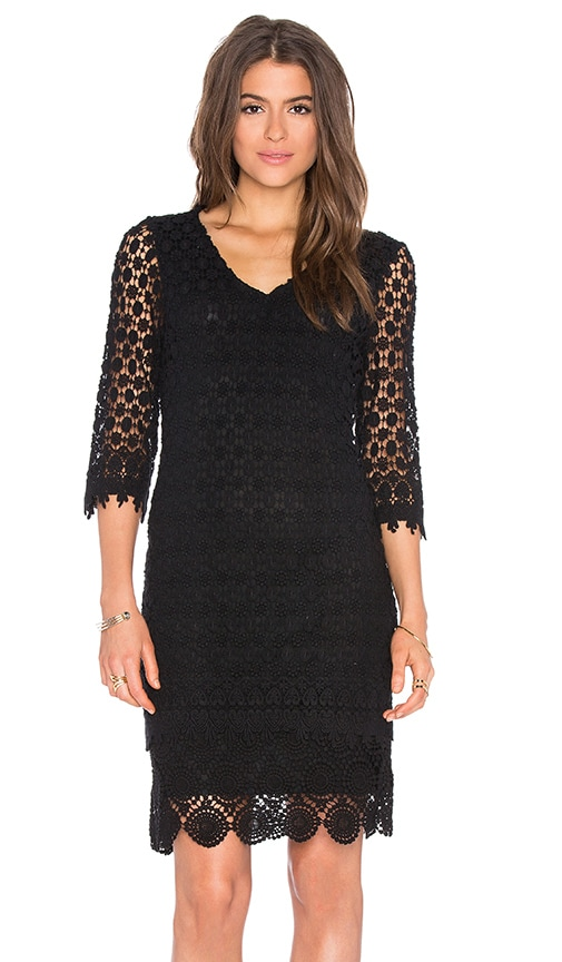 Velvet by Graham & Spencer Gita Mixed Lace 3/4 Sleeve V-Neck Dress in Black