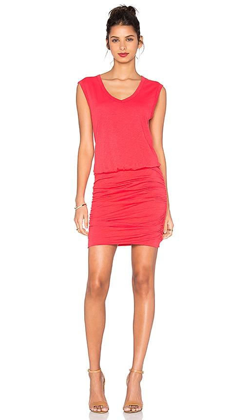 Velvet by Graham & Spencer Bardot Cotton Slub Mini Dress in Red