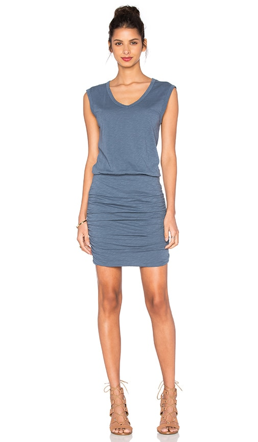 Velvet by Graham & Spencer Bardot Cotton Slub Mini Dress in Blue