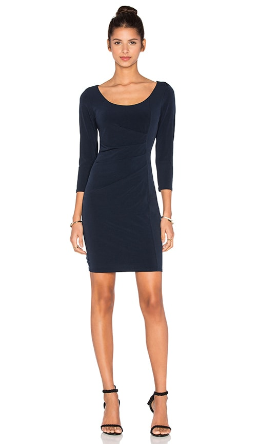 Velvet by Graham & Spencer Gini Stretch Jersey 3/4 Sleeve Dress in Navy