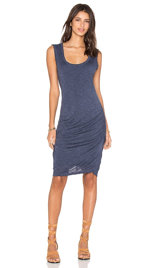Velvet by Graham & Spencer Janos Marled Rayon Midi Dress in Naval
