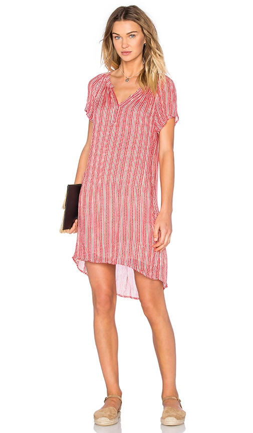Velvet by Graham & Spencer Lacey Sheer Printed Gauze Shift Dress in Red
