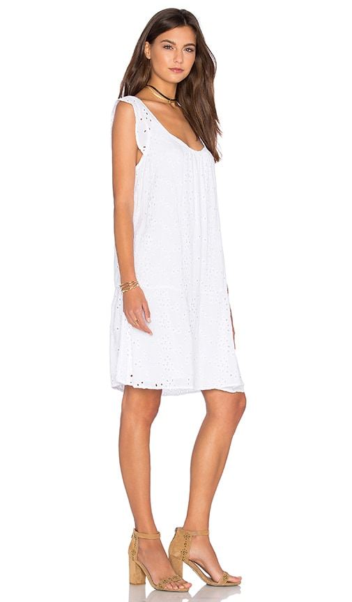 Velvet by Graham & Spencer Airlina Rayon Eyelet Shift Dress in White