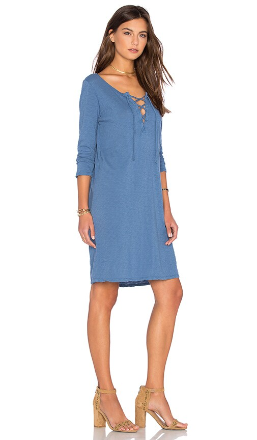 Velvet by Graham & Spencer Cinderel Cotton Slub Dress in Blue