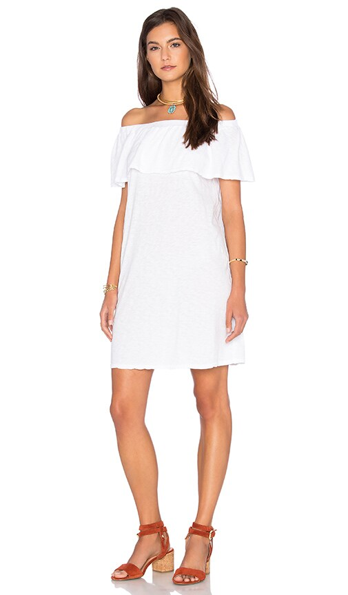 Velvet by Graham & Spencer Ithaca Cotton Slub Off The Shoulder Dress in White