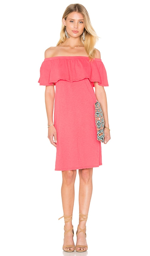 Velvet by Graham & Spencer Ithaca Cotton Slub Off The Shoulder Dress in Pink