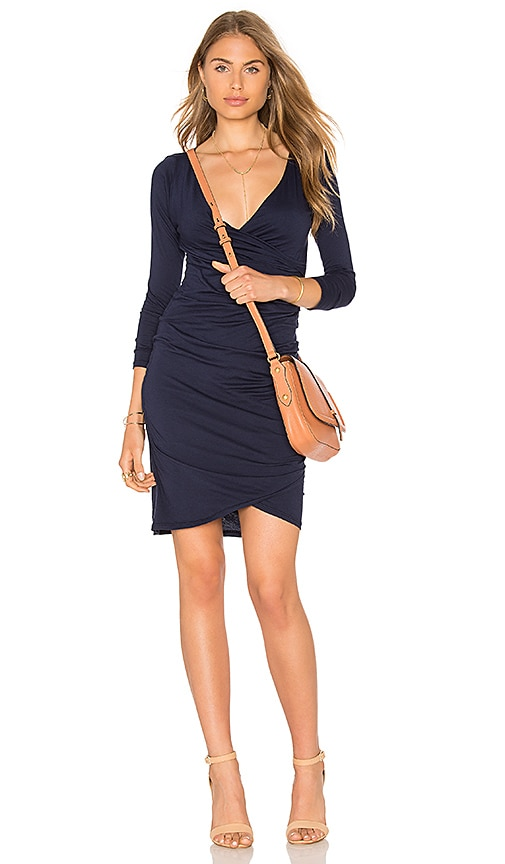 Velvet by Graham & Spencer Beatriz Ruched Long Sleeve V Neck Mini Dress in Navy